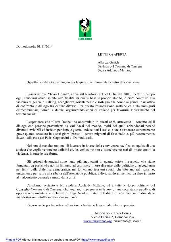 Lettera aperta al Comune di Omegna contro la Xenofobia ESCAPE='HTML'